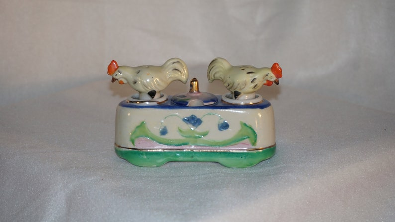 Vintage 1950/'s Nodding Hens Salt and Pepper Shaker with condiment jar made in Occupied Japan