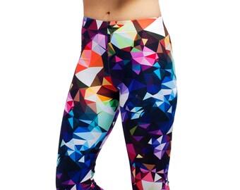 Leggings for women- colorful geometric print in multicolor design - performance - compression leggings - art printed on leggings for women