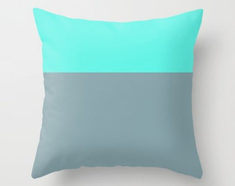Teal and Gray Throw Pillow Cover, Colorblock pillow cover