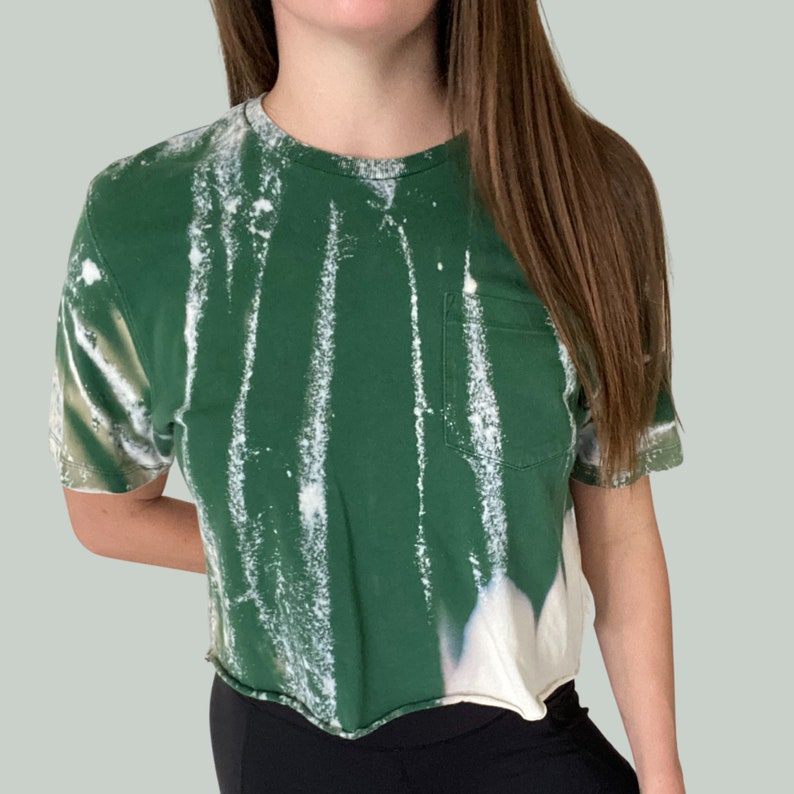 Green Tie Dye Crop Top with Pocket