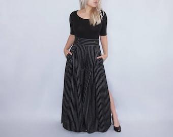 CHIEN - Flowy High waist wide leg pinstripe pants trousers / skirt / pleated