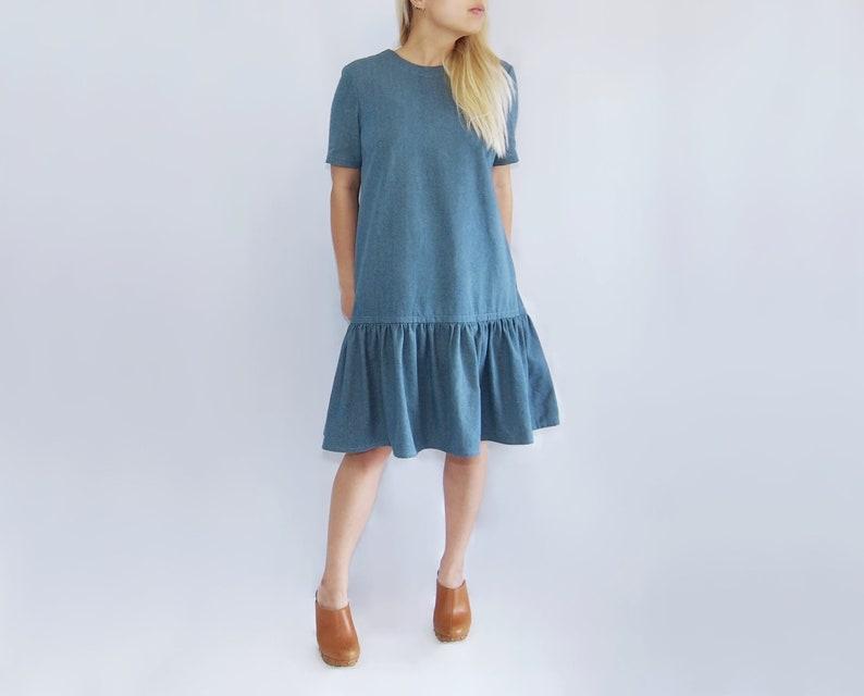 3e1512be7 Denim retro style dress / maternity dress / boho jean dress / | Etsy