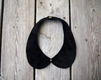 leather suede peter pan collar necklace