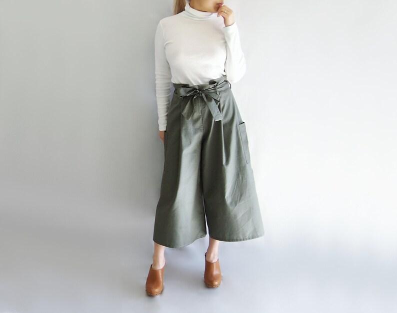 4d1897e5ad7 High waist wide leg cotton culottes pleated summer pants