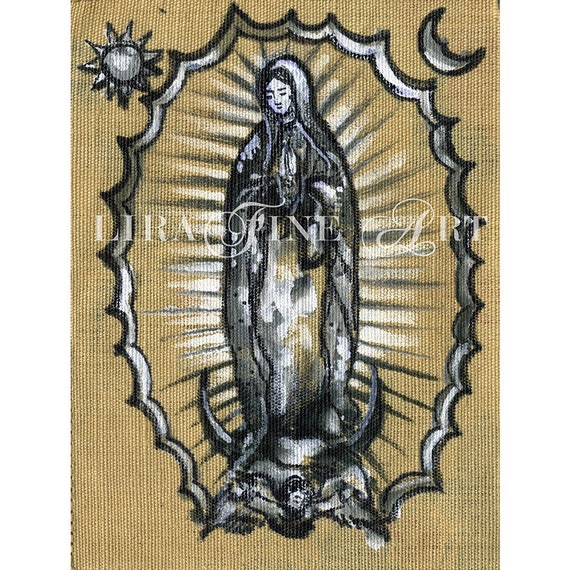 Guadalupe Virgen De Guadalupe Acrylic Painting Original On Etsy