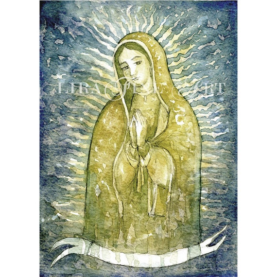 Guadalupe Virgen De Guadalupe Watercolor Painting Original Etsy