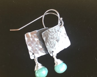 Silver hammered earrings with chrysoprase drop