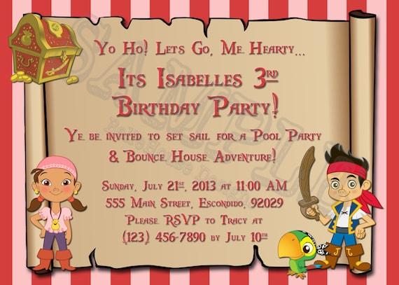 Invitación Del Cumpleaños Jake Y La Invitación De La Fiesta De Cumpleaños De Piratas De Nunca Jamás En El Mapa Del Tesoro