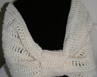 Crochet Cowl Cream Circle Scarf Neck Scarf Ready to ship