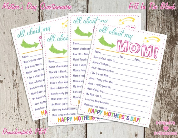 photo regarding All About My Mom Printable known as All More than My Mother Moms Working day Questionnaire - Instantaneous