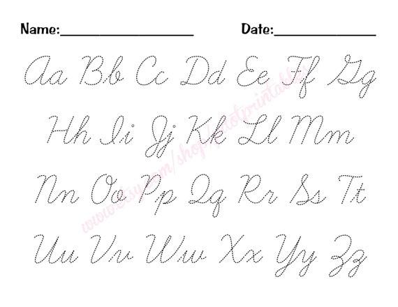 Cursive Alphabet Trace Worksheet - PDF - Printable