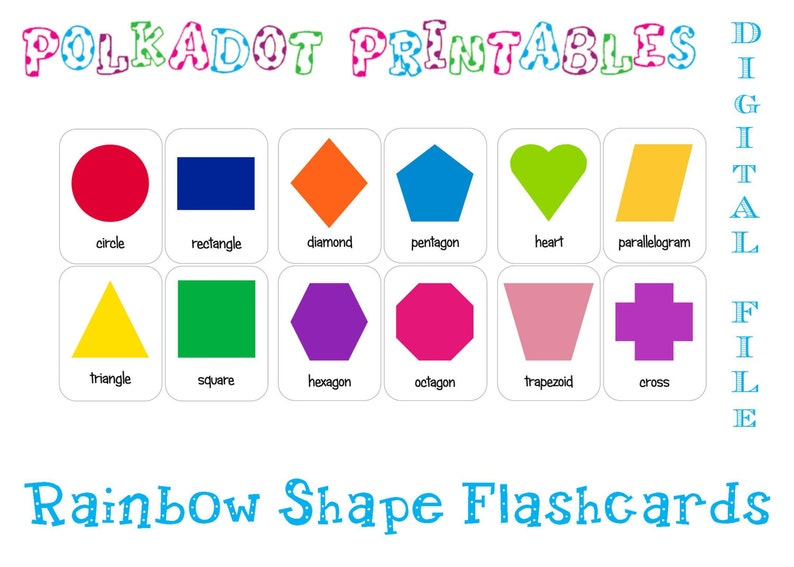 picture about Printable Shapes titled Printable Form Flashcards Preset of 12 - Fast Down load