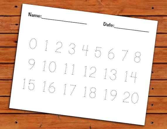 0 20 Number Trace Worksheet Pdf Printable Preschool Etsy - View Kindergarten Number Tracing Worksheets Pdf Gif
