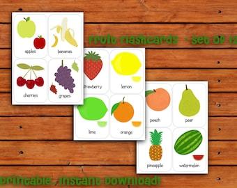Printable Fruit Flashcards Set of 12 - Instant Download