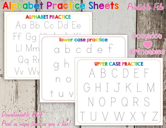 Rainbow Alphabet Trace Worksheets PDF Lower Upper And Combined Digital  Printable - Beginning Reading Preschool Reading Penmanship Practice By  Polkadot Printables Catch My Party