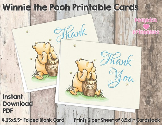Editable PDF or Personalized Winnie the Pooh Birthday Card Template