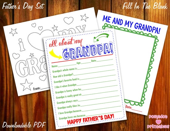 photograph about All About Grandpa Printable identified as All Above My Grandpa Fathers Working day Young children Questionnaire