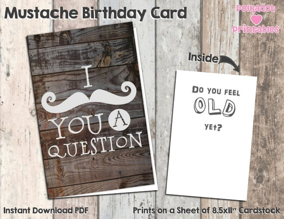 graphic relating to Grandpa Birthday Card Printable identified as I Mustache Oneself a Marvel Birthday Card - Immediate Down load