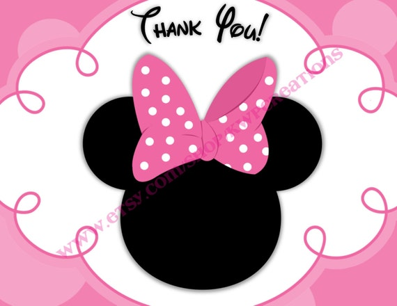 graphic relating to Printable Minnie Mouse Head named Minnie Mouse Brain Thank Oneself Playing cards - Printable Electronic Record