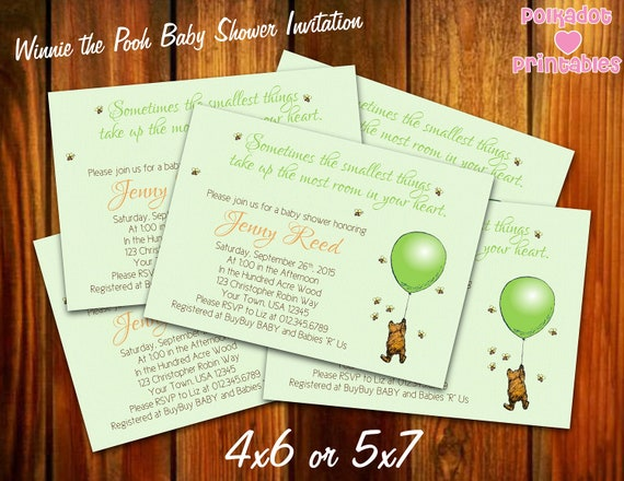 Classic winnie the pooh green baby shower invitation 4x6 or etsy image 0 filmwisefo