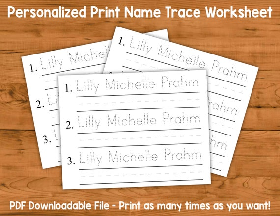 Personalized Print Name Trace Worksheet With Practice Lines