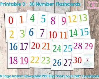Printable 0 - 30 Number Flashcards - Instant Download - Preschool Flashcards