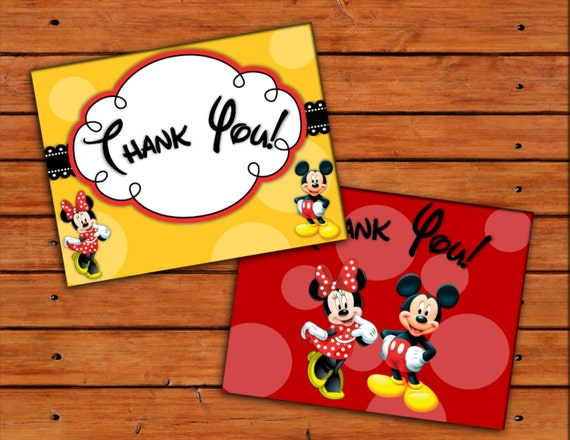 Minnie And Mickey Mouse Thank You Cards Printable Digital Etsy