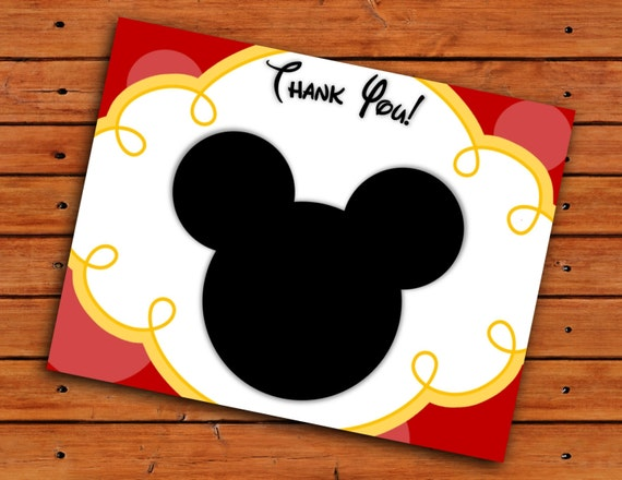 Mickey Mouse Head Thank You Cards Red And Yellow Printable Etsy