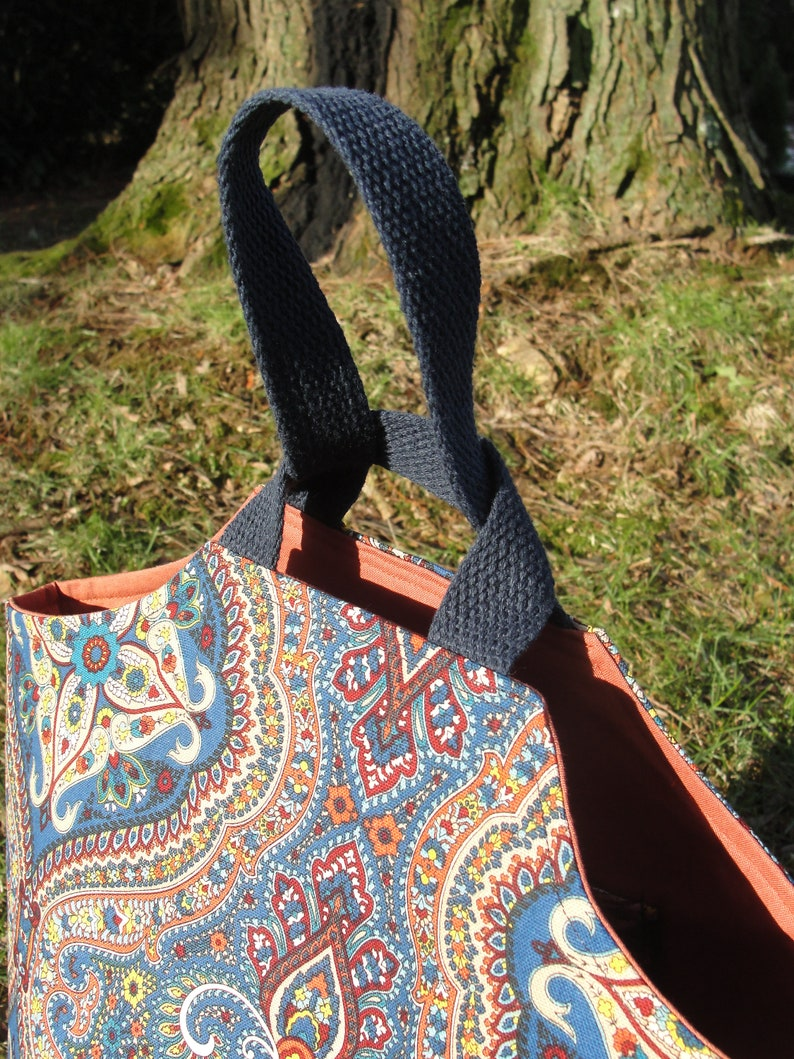 READY To SHIP The /'Lily/' Knot Bag in  Blue and Pumpkin Everyday Tote Knitting Crocheting Project Bags
