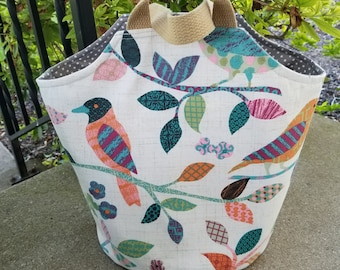 The 'Lily' Bag in Song Birds -- Japanese Knot Bag Style