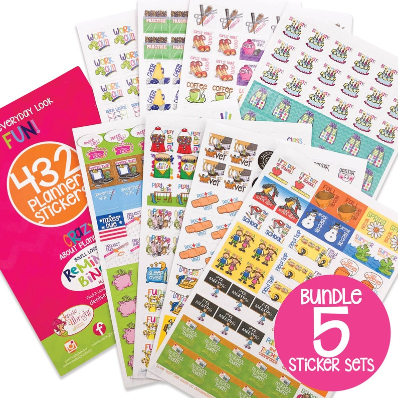 Includes 5 Packs of 432 Stickers Calendar Fits ANY Planner Planner Stickers Bundle Weekly Schedules for Moms