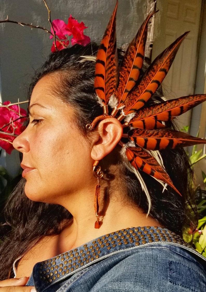 Sunset orange Feather Ear cuff for left ear