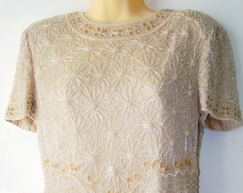 996d4455e5ef74 Vintage Adrianna Papell Occasions Beige Silk Pearl