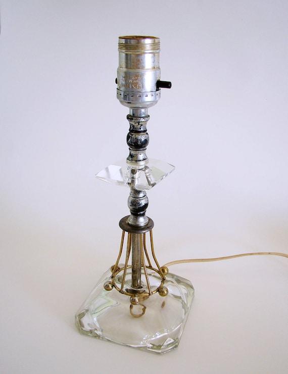 Mid Century Leviton Atomic Metal Glass Table Lamp Eames Era Etsy