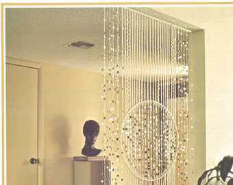 Deco Divider • Macrame 1970s Beaded Wall Hanging Bead Curtain • Vintage Macramé • Boho Hippie • Instant Download