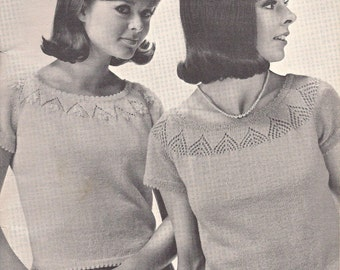 673b5c611 Delightfully Dainty • 1960s Knit Sweater Top Pattern • Vintage Knitting  Shell Patterns • Retro Patons Beehive • PDF File