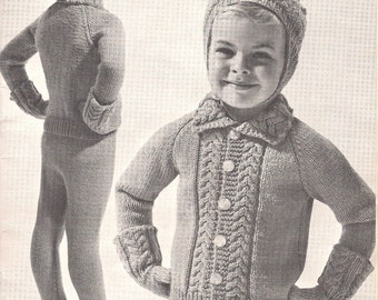 a3b445020 Snow Day • 1950s Children s Kid Sweater Mittens Legging Hat Pattern •  Vintage 50s Kid s Knitting Jumper Patterns Patons Beehive • PDF File