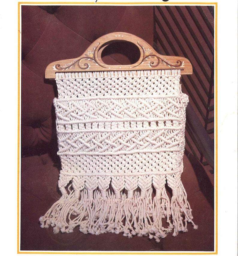 Burning Man Bag \u2022 1970s Macrame White Purse Handbag \u2022 Macrame Wooden Wood Fringe \u2022 How To Instruction \u2022 Boho Hippie Festival 70s Vintage PDF