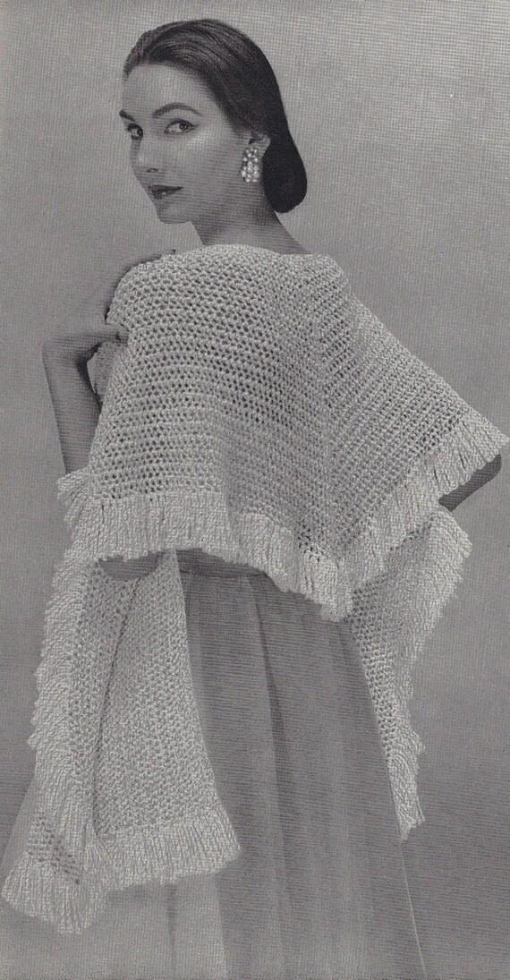 Feather Lace Shawl 1950s Knit Cape Wrap Pattern Vintage Etsy