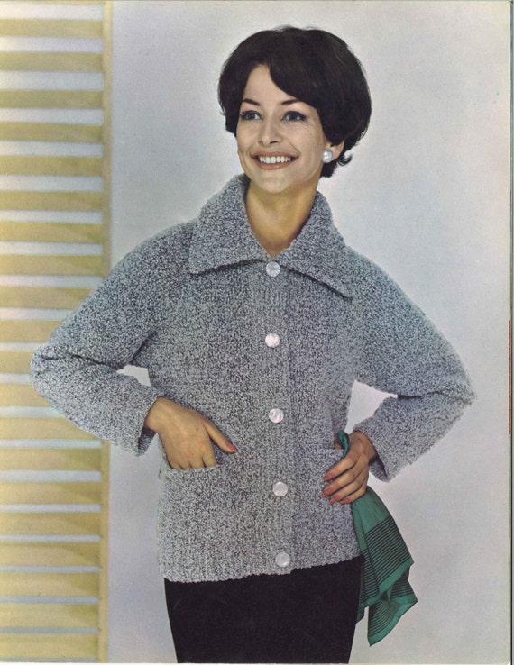 Grey Skies 1960s Jacket Blazer Cardigan Pattern 60s Etsy
