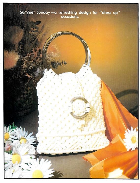 Macrame Beach Bag \u2022\u00a0Macram\u00e9 Purse \u2022 1970s Bags Design Handbag Designs Patterns \u2022 Instruction Pattern Book 70s Vintage \u2022 Instant Download PDF
