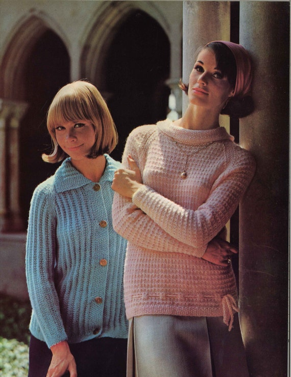 Pink Blue 1960s Cardigan Sweater Patterns 60s Vintage Etsy