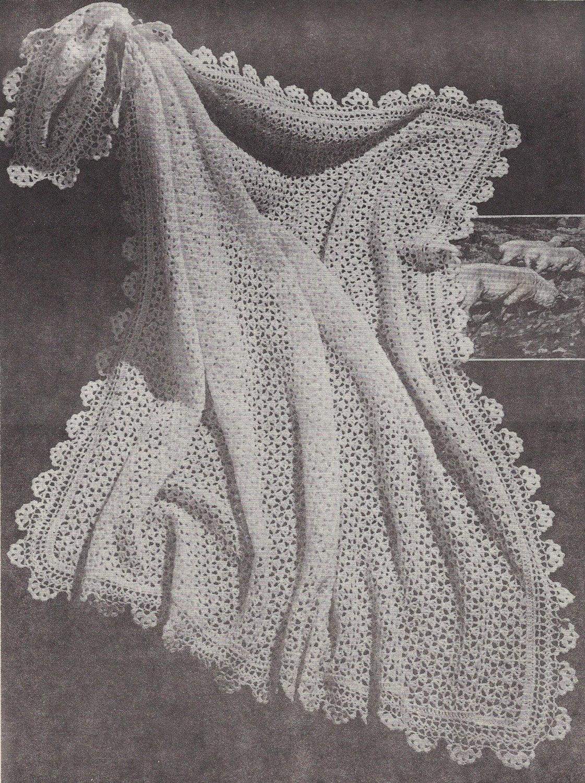 Tiny Buds 1950s Crochet Christening Baptism Baby Shawl Etsy