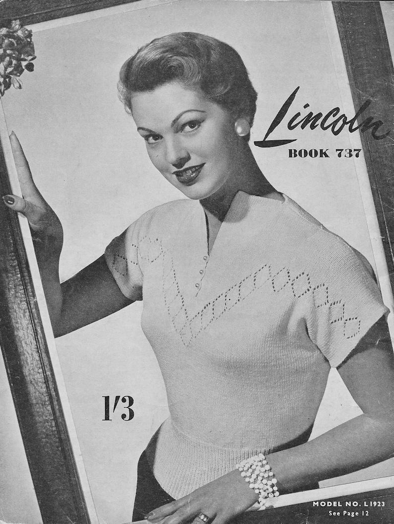 942647c52f9 Leaf Lace Sweater • 1950s Knitting V-Neck Top Jumper Knitted Blouse • 50s  Vintage Pattern • Retro Knitwear Women's Knit Digital PDF