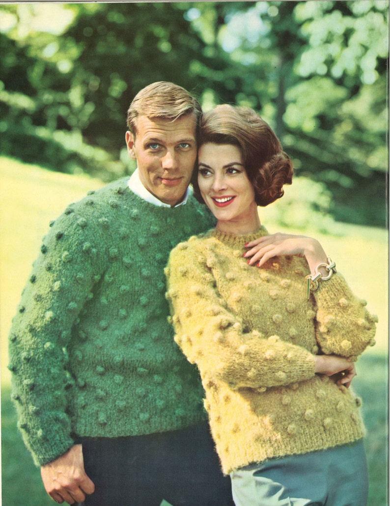 Pop /& Dot \u2022 1960s Puff Pullover Sweater Patterns \u2022 60s Vintage Bobble Bobbles Knitting Misha Jumper Popcorn Pattern \u2022 Retro Knit PDF