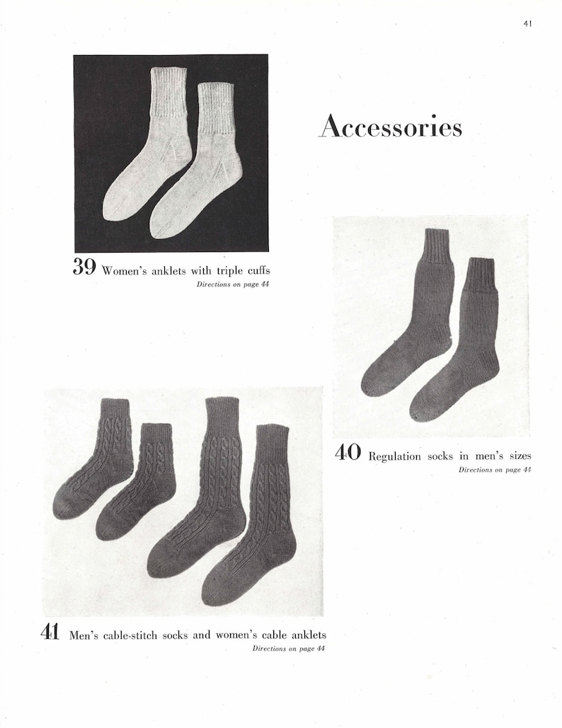 His Hers Socks 1940s Knitting Knit Sock 40s Vogue Etsy