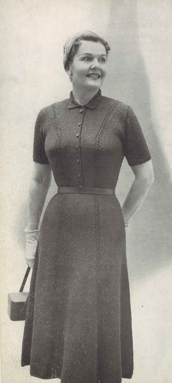 Classic Shirtdress 1950s Plus Size Short Sleeve Knit Dress Etsy