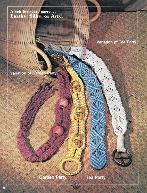 Vintage Retro Macrame Multi Color BeltBOHO Hippie Macrame Belt
