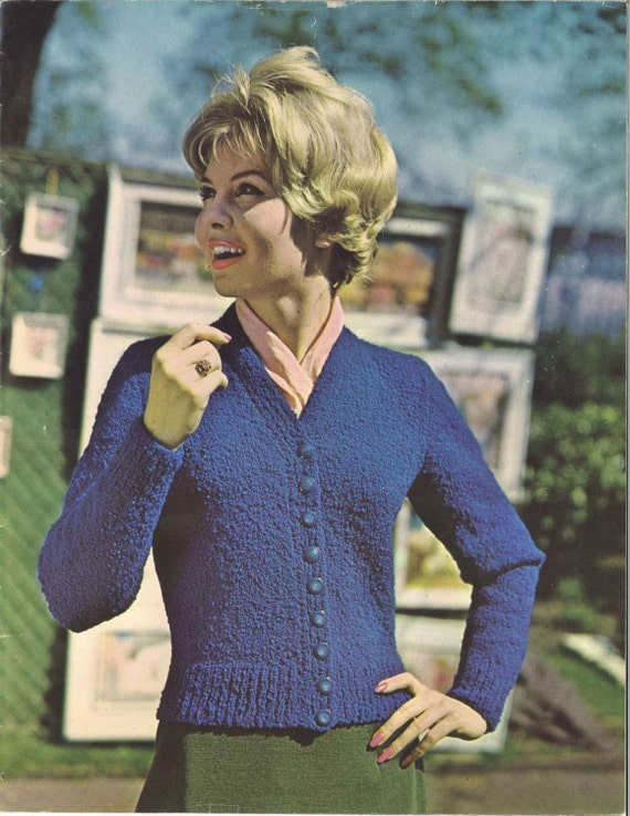 College Cardigan 1960s Cardigan Sweater Pattern 60s Etsy