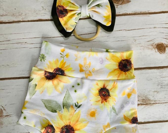 Sunflower Watercolor Bummies/Infant Bummies/Infant Shorts/High Waisted Bummies/Baby Bummies